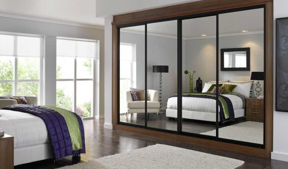 Встроенный шкаф в спальне - 102 фото модных дизайнерских видов современных шкафов