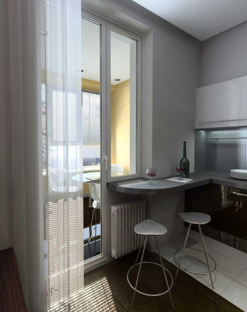 Барная стойка на маленькой кухне - фото.