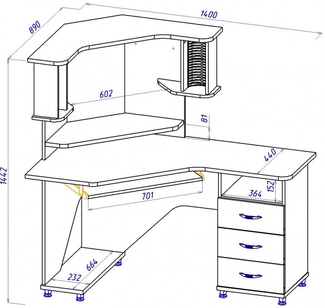 Компьютерный стол юниор 2 схема сборки