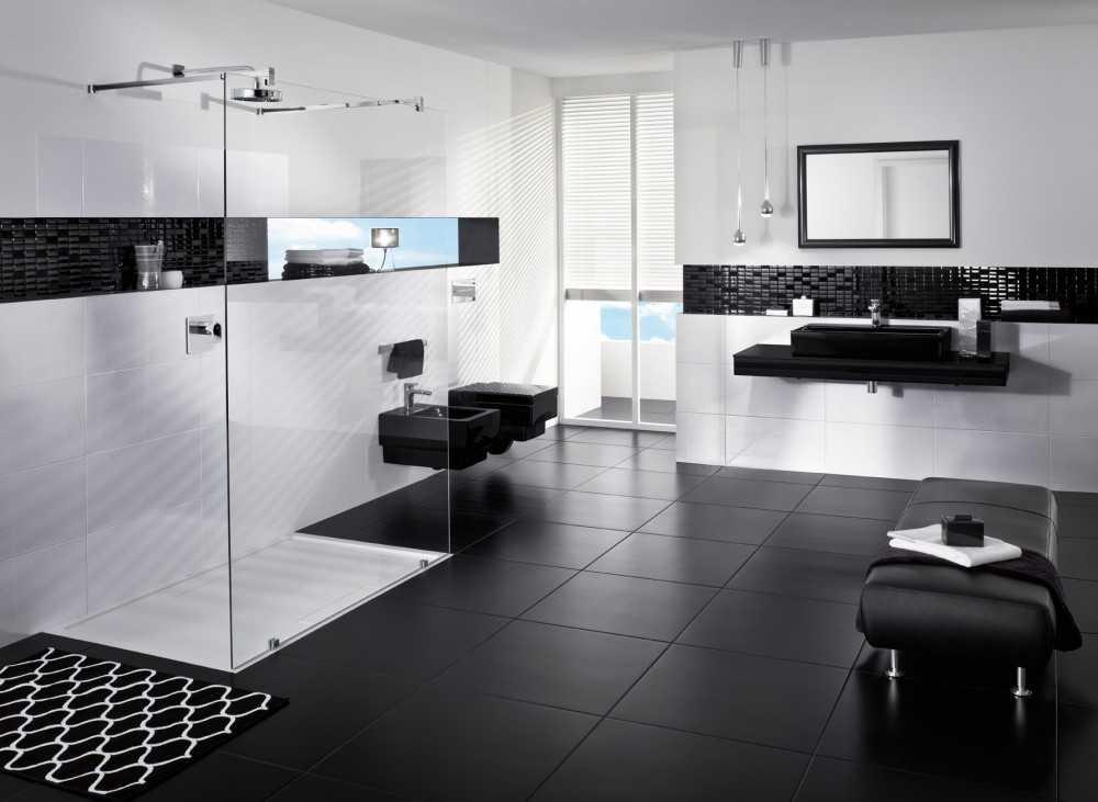 Badezimmer Schwarz Weis
