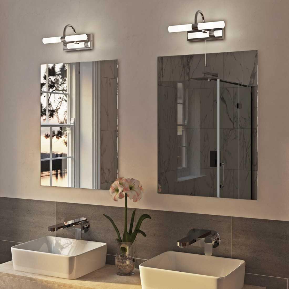 Light over mirror in bathroom